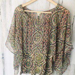 NWOT Anthropologie Tiny Caged Mosaic Silk Blouse